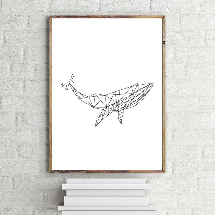 Whale Art Print, Geometric Whale Print, Minimalist Art Print, Instant Download Printable Art