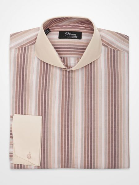 Steven by Steven Land Tan Striped Dress Shirt  A slender striped pattern in brown, tan, salmon and light gray offsets the solid-color collar and cuffs on this casual dress shirt.