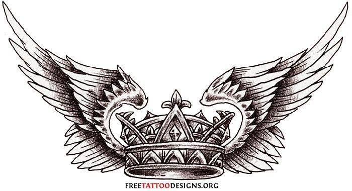 Winged Crown Tattoos Design