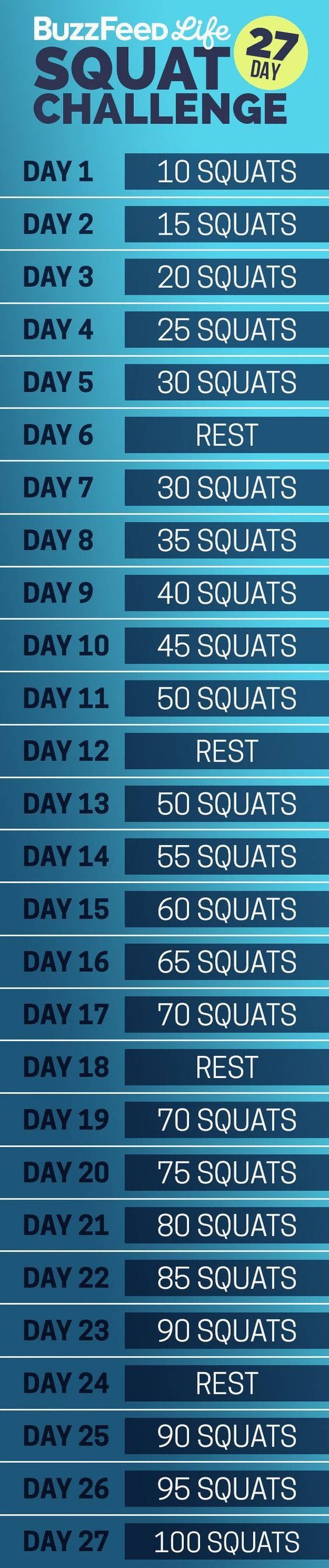 Here's your daily squat schedule: | Take BuzzFeed's 27-Day Squat Challenge, Have The Best Summer Of Your Life!
