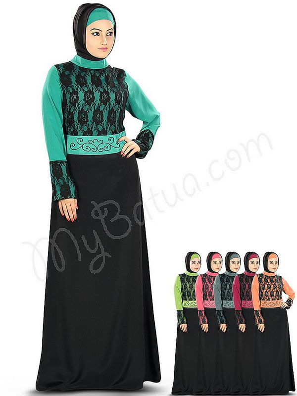 Beautiful Flower Net Black Bottle_Green  Party Wear Sarrinah #Abaya|#MyBatua.com Style No : AY-336 Price : $50.90 Available Sizes XS to 7XL