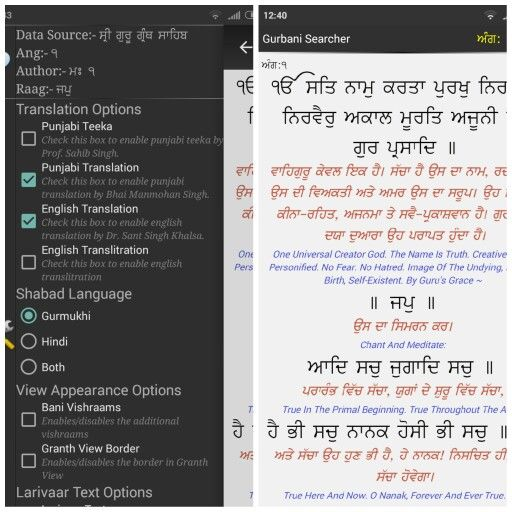 You can Check or Uncheck the Option  in Translation Options .. Gurbani Searcher App