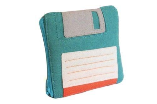 蓝色磁盘零钱包,可爱