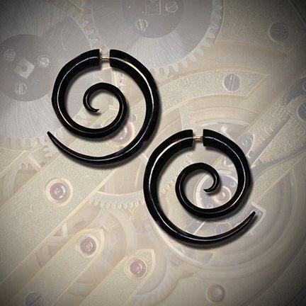 Büyük Çift Spiraller, Sahte Müjde Küpeleri, Kabile Mücevherleri, BOHO Küpeler, Sahte Mühürler, Çevre Dostu, Siyah Horn, Organik Küpeler - H14
