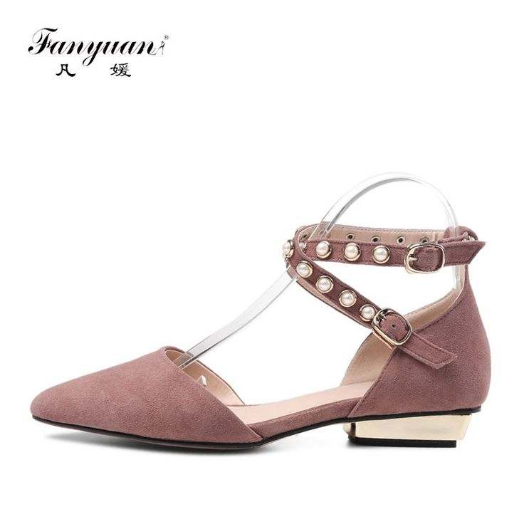46.64$  Watch now - http://alint6.shopchina.info/1/go.php?t=32814159272 - Fanyuan 2017 Spring/Autumn Dress Daytime Low Heels Pumps Square Heels Pointed Toe Cow Suede Pearly  Women Shoes Ankle Strap  #magazineonlinebeautiful