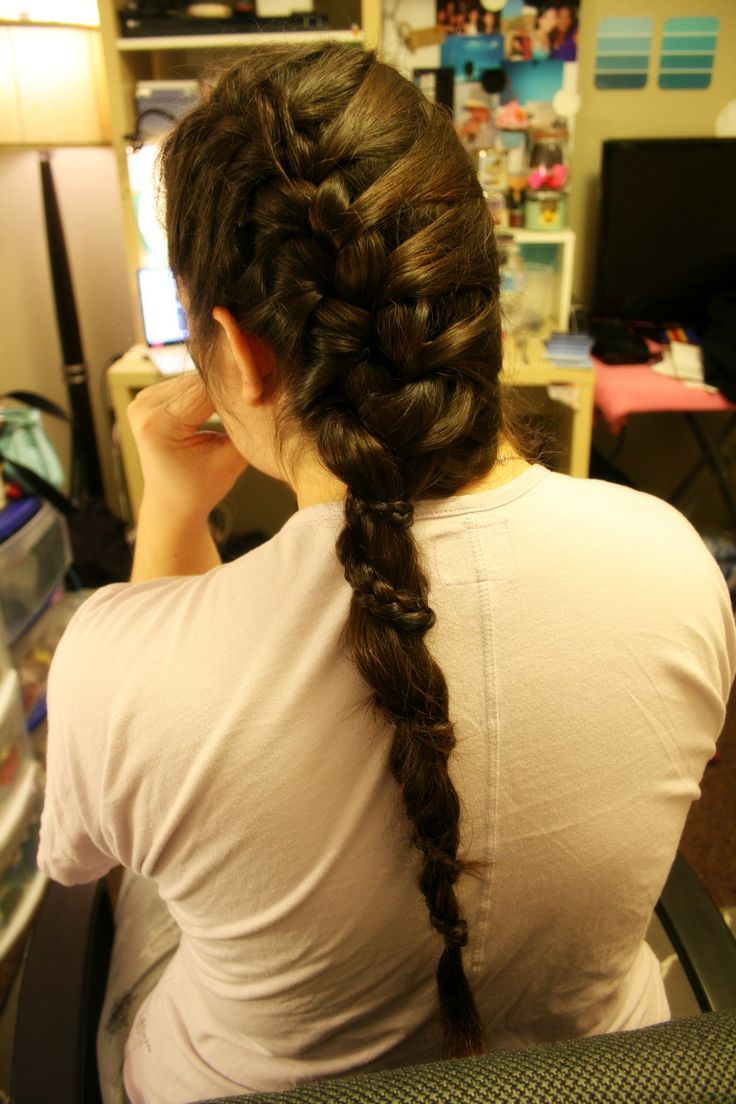 French side braid with a lace wrap-around braid. (First Attempt!)