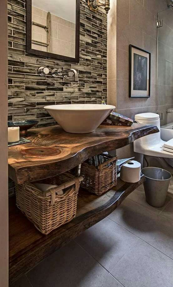 Plan vasque en bois naturel: idées en photos fascinantes