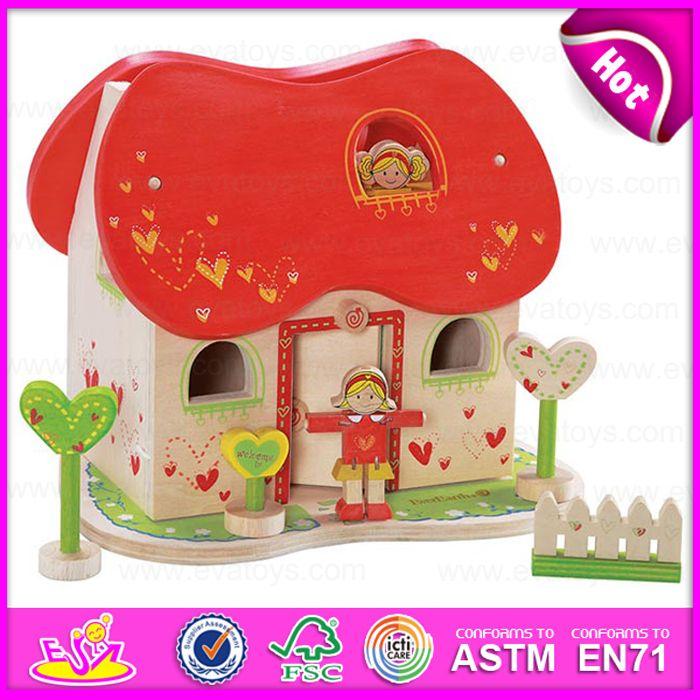 2015 Modern Kindergarten Fashion Mini Wooden Doll House, Fashion Kid 3D DIY Mini Doll House, Deluxe Wooden Mini Doll House W06A112