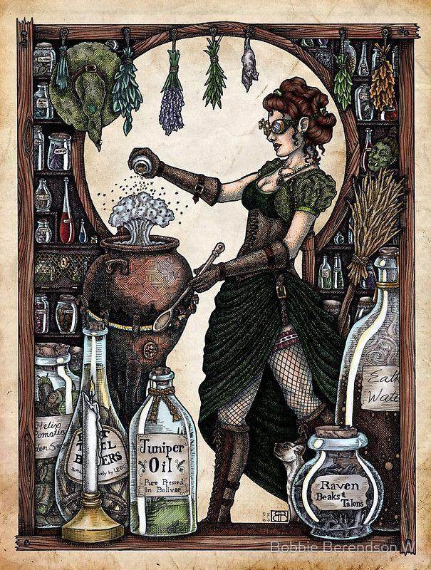 Ezlynn the Industrial Witch by Bobbie Berendson W | Art Print