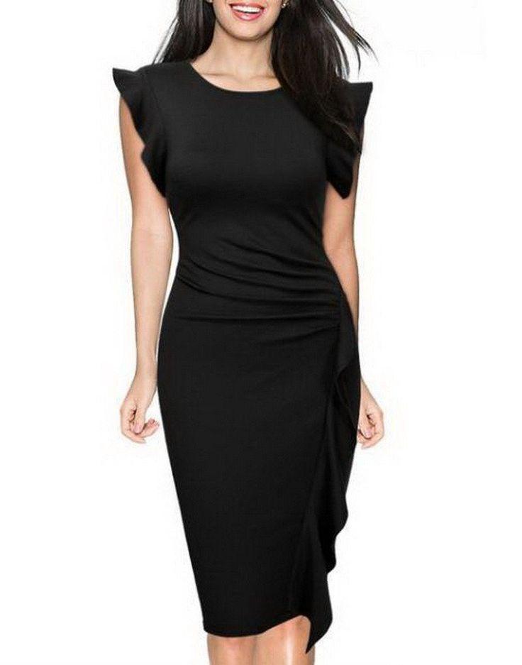 Vestidos Women Elegant Fashion Flare short sleeve Bodycon Dress Cascading Ruffle Slimming Party dresses Pencil Sheath Dress  95