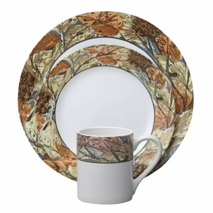 Impressions™ Woodland Leaves Dinnerware Set   The Plates And Mug Bear Bands  Decorated With A Blanket Of Leaves (no Raking Required).