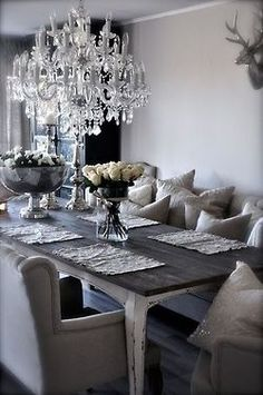 Rustic glam decor dining room kitchens pinterest for Glam dining room ideas