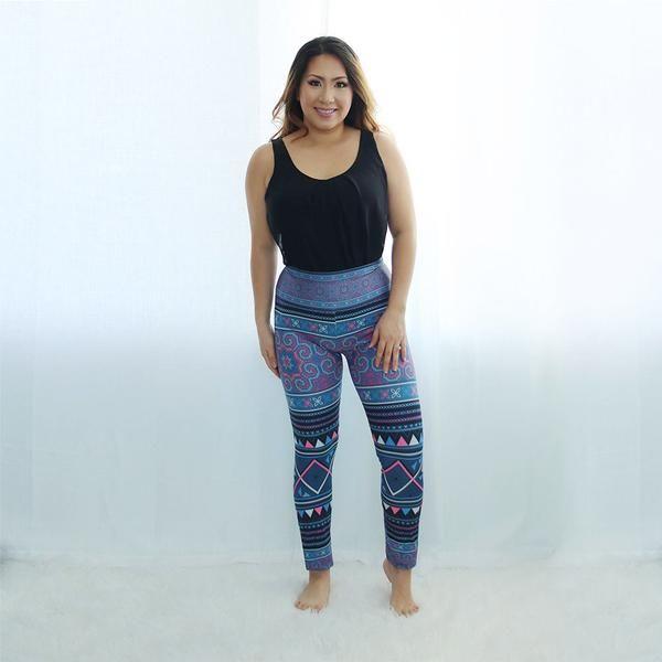 Teal Blue Hmong Velour Yoga Leggings