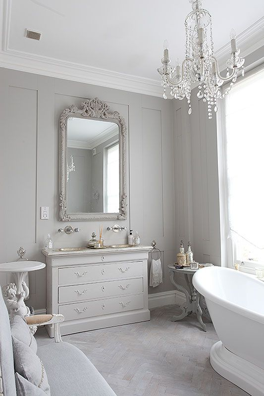 Vintage inspired monochromatic bathroom.