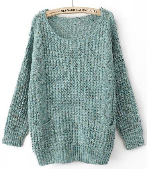 Turquoise Round Neck Long Sleeve Pockets Embellished Sweater :3