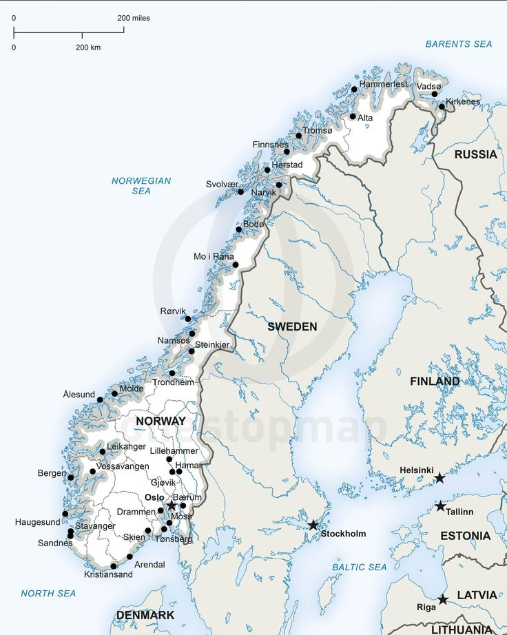Vector Map Of Norway Political Pdf - Map of cities in norway