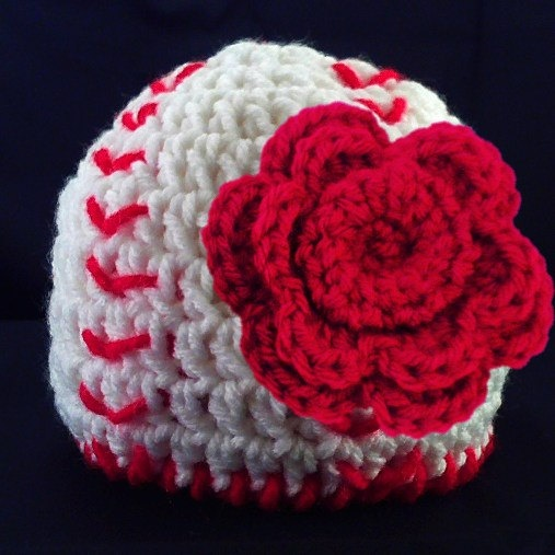 Baby Girl Baseball Hat with Flower Clip Newborn Baby by lilaleigha, $15.50..i want a football one