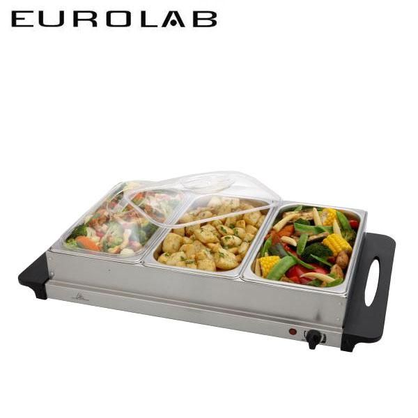 Eurolab 3 Tray Stainless Steel Buffet Service Warmer with Thermostat - Kitchen - Serving