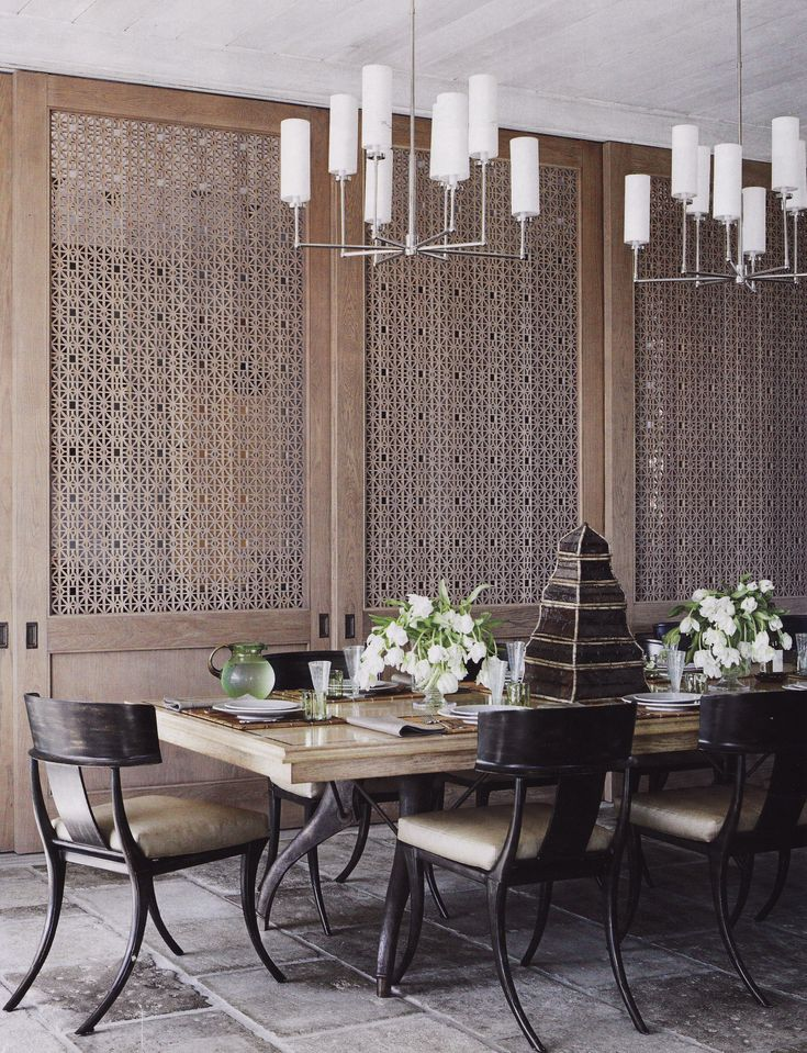 Japanese inspired dining room. Like the chandeliers and panels