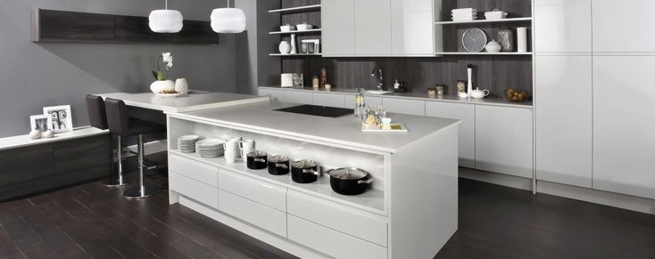 The Malmo light grey gloss handleless kitchen from Units Online