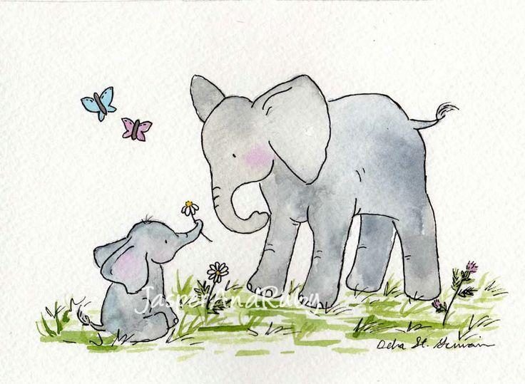 Elephant Nursery Art Print for Baby and Children- Ellie and Mama - 8X10 Archival PRINT- Nursery Wall Decor- Nursery Wall Art. $18.00, via Etsy.