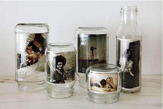 Reuse old jars to make DIY picture frames! More jar upycle ideas @BrightNest Blog