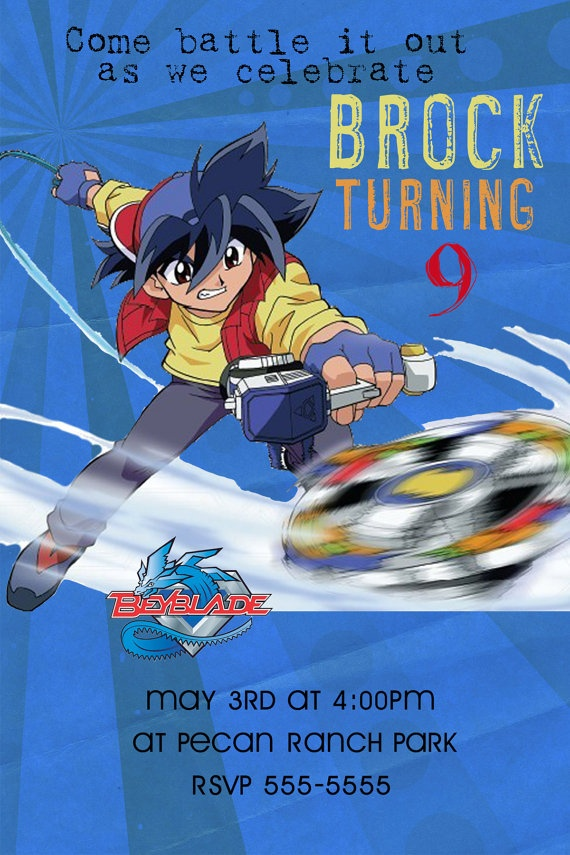 Beyblade Custom Birthday Invitation 4 designs in 4X6 or