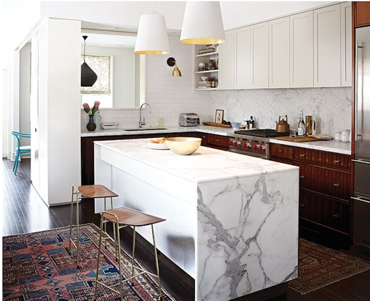 marble waterfall kitchen island counter