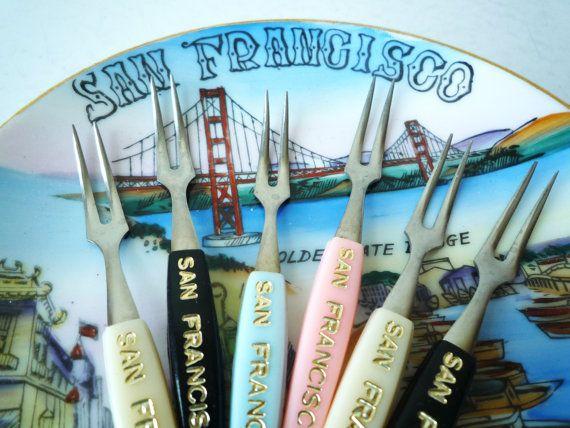 Mid Century Modern Cocktail Forks San by ShantyIrishVintage #stockingstuffers #californiasouvenir #midcenturymodern #midcentury #appetizerforks #cocktailforks