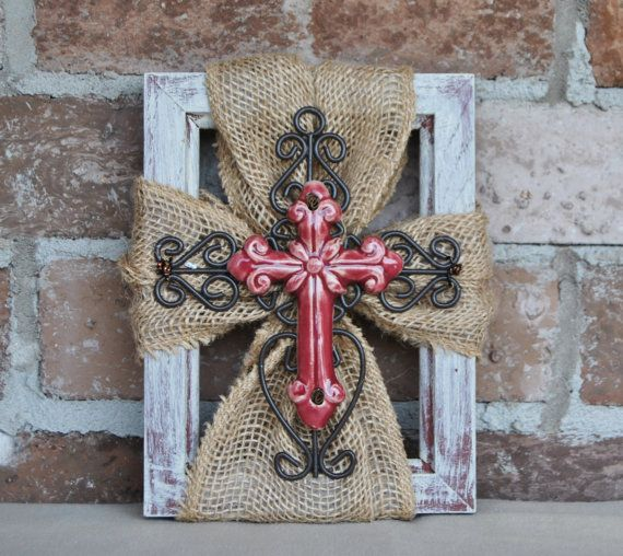 Burlap, Ceramic, Metal Cross Picture Frame.   Measures: Length 8 width 6 and 1 thick. Comes with a small saw tooth mounted for hanging.  Ready