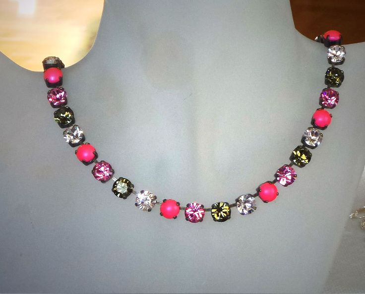 VANESA Swarovski crystal tennis style necklace crystal neon pink pearl and smoky quartz - elenamaratos crystal jewelry
