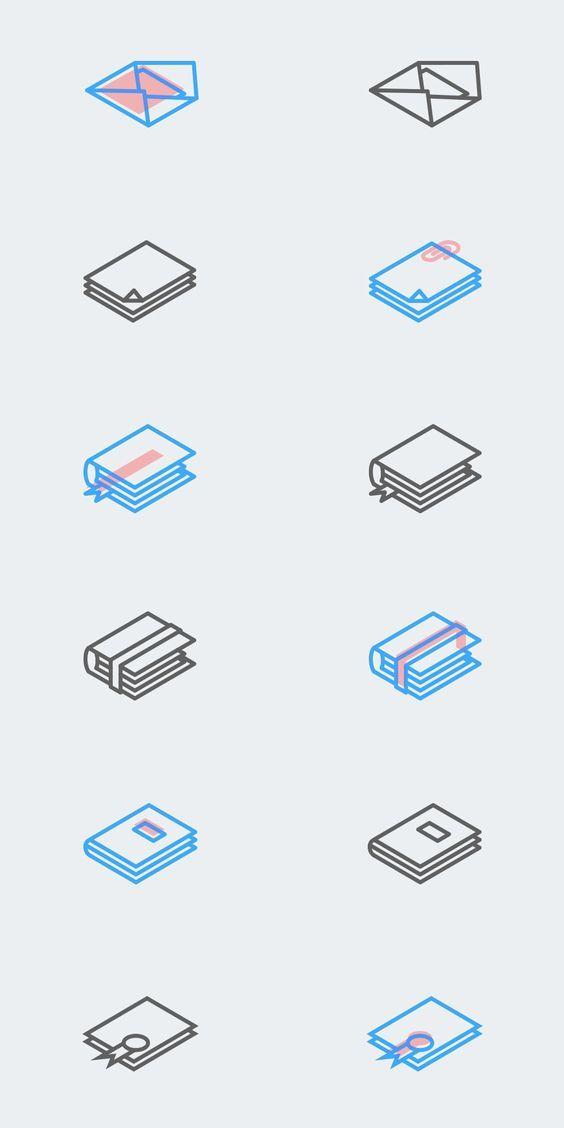 Set of Free Isometric Line Icons: