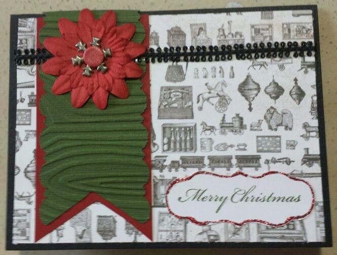 Snowflake pointsetta Christmas Card