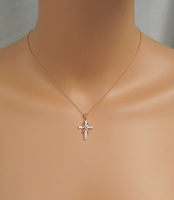 Infinity Cross Necklace Rose Gold Bridal jewelry Wedding