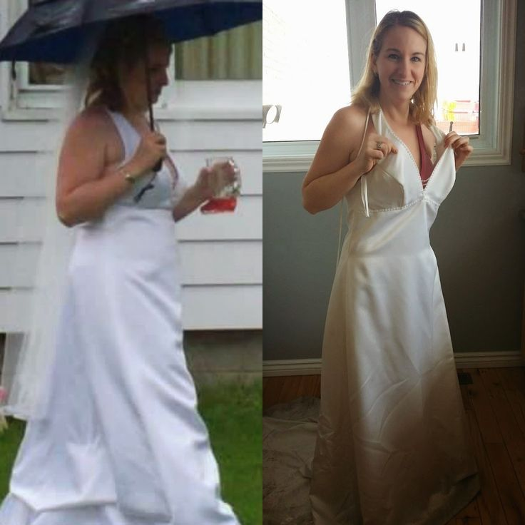 I have honestly been scared to try my wedding dress on.  Thinking that I was never going to fit into it again and scared that maybe it would...