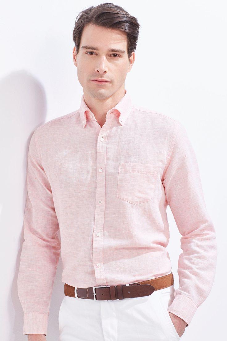 Cortefiel Camisa lisa lino Rojo