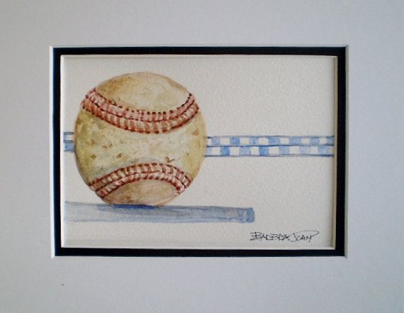 Baseball painting Sports painting Fathers by BarbraJoanOriginals