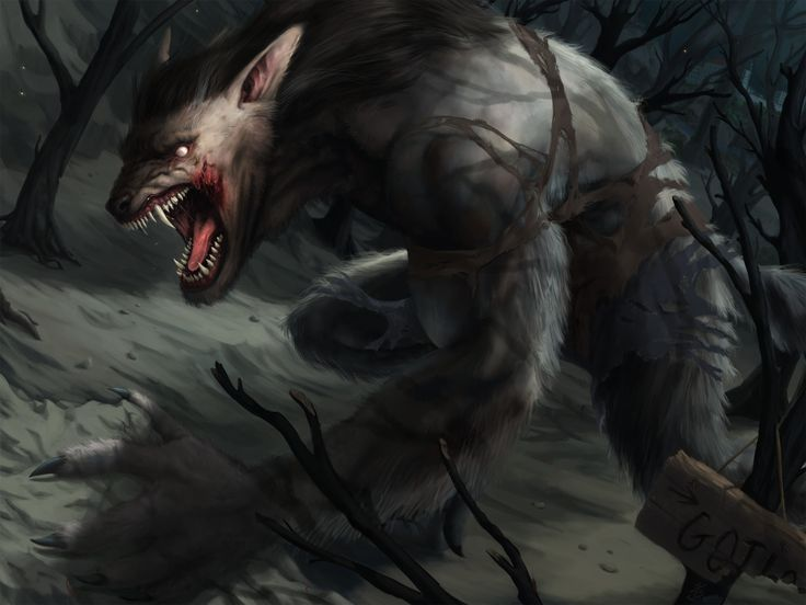 Werewolf by JakubKaktus, James 'Kaktus' Balewicz on ArtStation at https://www.artstation.com/artwork/4E3En