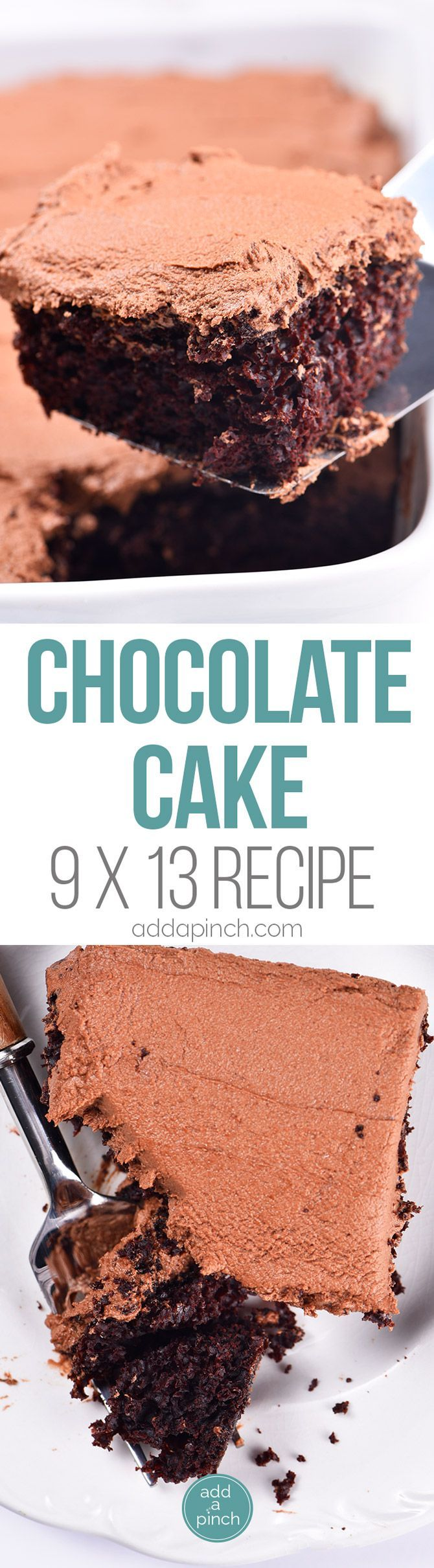 Best Chocolate Cake Recipe (9x13 Recipe) - This is the easiest 9x13 chocolate cake recipe I've ever made. Adjusted from my Best Chocolate Cake that everyone absolutely loves, I've now made the cake even easier and sized for a 9x13 sheet cake! // addapinch.com