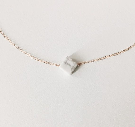 White Howlite Marble Necklace // Marble Necklace // by KristinaCo