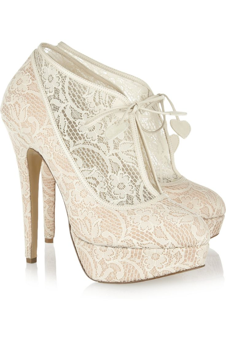 Minerva lace and satin ankle boots wedding shoes