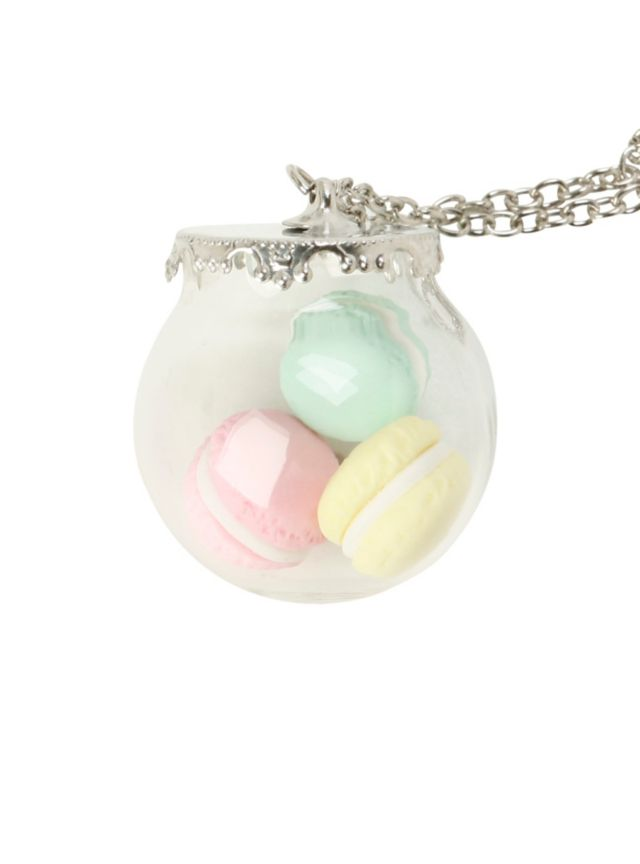 Silver tone chain necklace with jar pendant containing pastel macaroons.