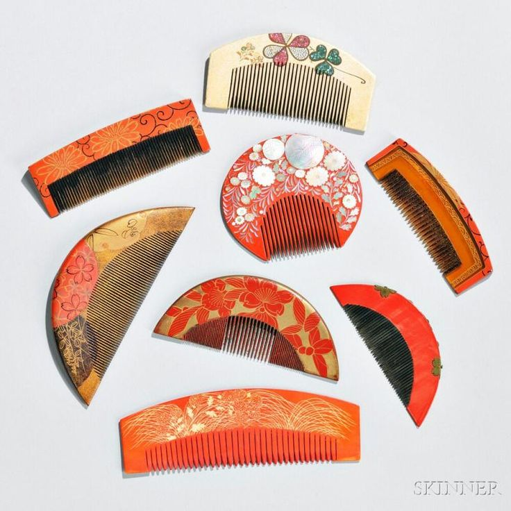 Eight Assorted Kushi Combs - Current price: $150