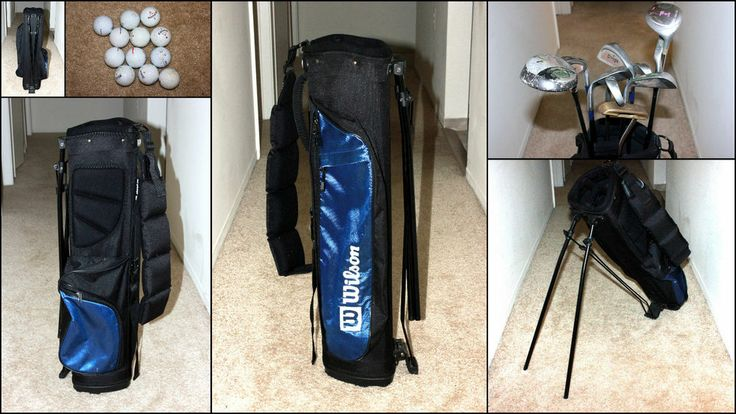 WILSON YOUTH GOLF CLUB BAG with Various Golf Clubs & Balls