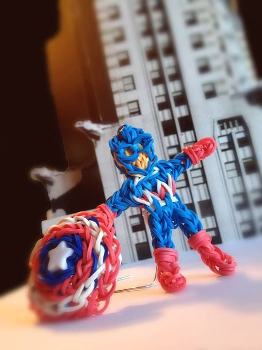 Captain America: Rainbowloom, Rainbow Loom, Craft, Loom Ideas, Loom Bands, Kids, Band Ideas, Rubber Band, Loombands Looming