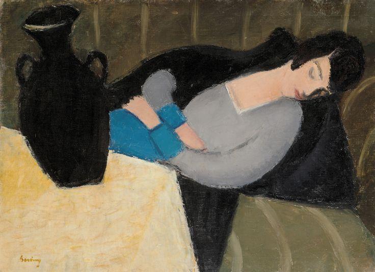 """ Róbert Berény (Hungarian, 1887-1953), Sleeping woman with a black vase (Woman asleep), 1927-28. Oil on canvas, 64 x 87 cm. """