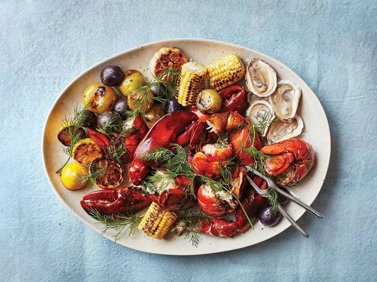 Feast like a Mainer: Coal-Grilled Lobster with Charred Corn, Tomatillos & Blue Potatoes.