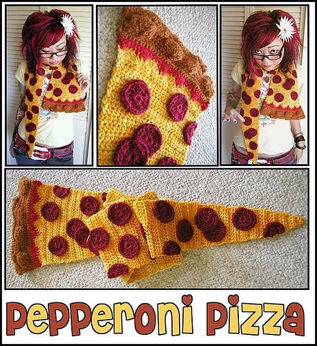 Crochet Pepperoni Pizza Scarf