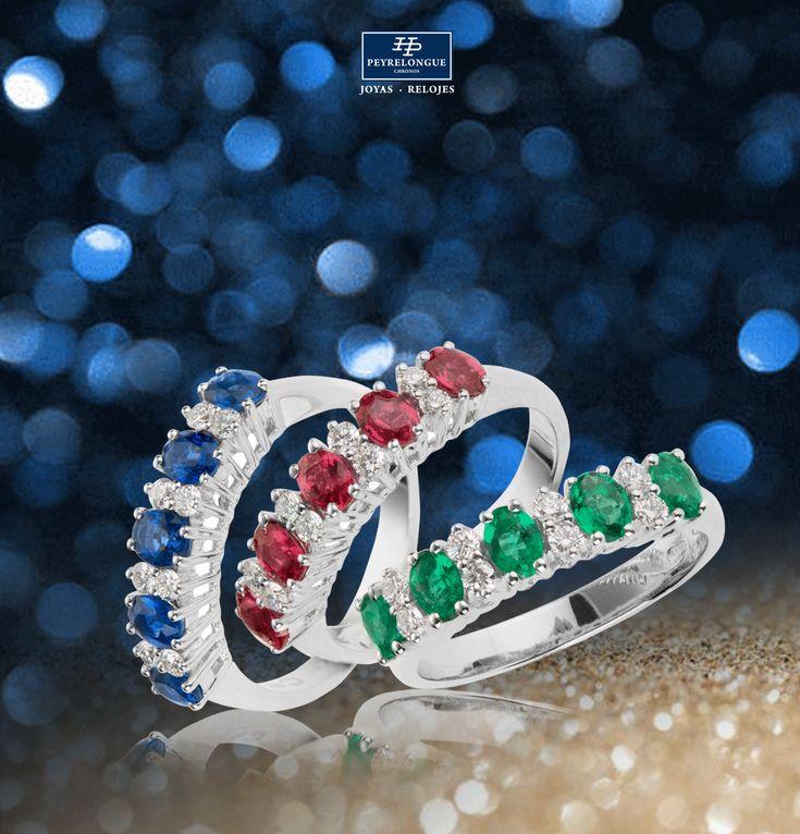 #JoyasPeyrelongue Anillos con diamantes y piedras preciosas: zafiros, rubíes, y esmeraldas en oro blanco de 18 kt. #jewelry #luxury #newchic #fancy #elegant #joyas #style #cute