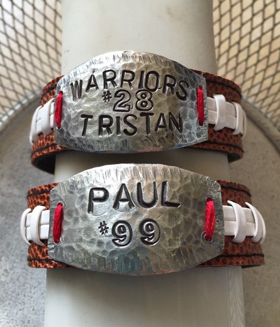 Football Bracelet Personalized Stamped Football Bracelet
